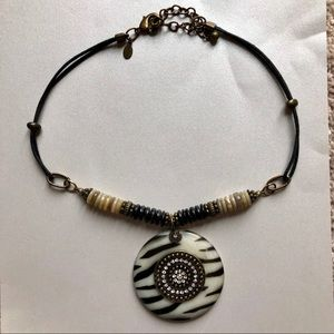 Chico's 18 inch beaded/rope pendant necklace